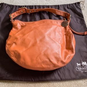 CERVO soft LEATHER ORANGE PUMPKIN hobo handbag